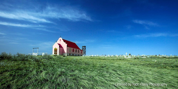 Pink Church in Fort Belknap - Native American reservation in Montana