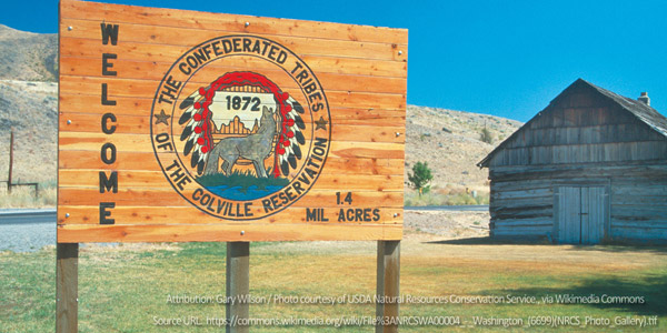Reservation: Colville welcome sign
