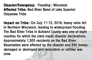 Flooding - Bad River Band of Lake Superior Chippewa Tribe - Wisconsin